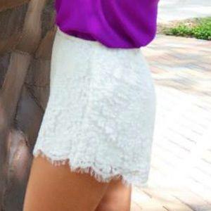 Keepsake high waisted white lace shorts